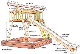 a diagram of a wooden swing set plan