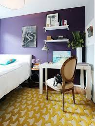 view in gallery yellow rug in purple bedroom