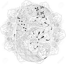 Hand Painted Art Design Adult Anti Stress Coloring Page Black