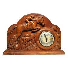 hand carved oak jumping horse jockey mantle clock