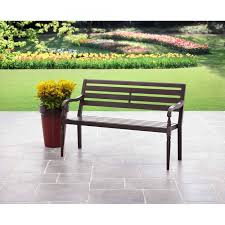 backyard mainstays slat garden bench black com with outdoor backless bench