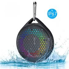 Waterproof Speaker With Lights Mini Portable Outdoor Hiking Wireless Bluetooth Stereo