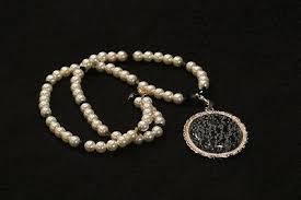 """<b>20</b>"""" Pearl & <b>Black</b> Bead Necklace with 2"""" <b>Detachable</b> """"Marble"""" Stone ..."""