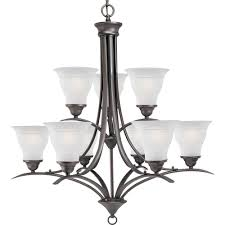 progress lighting trinity 9 light antique bronze chandelier with etched glass