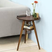 vintage retro side table brown unit round shelf 3 wooden legs telephone stand