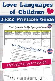 Five Love Languages Of Children Free Love Language Test For