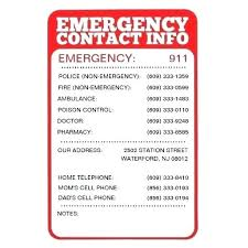 Emergency E Numbers List Template Number Free Printable
