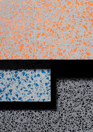 materials by studio david thulstrup yellowtrace colour and material colour and texture feel dessert like but still modern and not too feminine lenolium speckled pattern orange blue gray tile