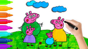 How To Draw Peppa Pig Family Coloring Pages L Coloring Book Videos