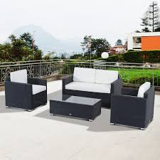 outsunny 4 piece cushioned outdoor rattan wicker sofa set sectional patio furniture