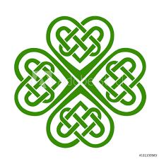 Fotografie Obraz Celtic Heart Knot Shamrock Lucky Charm Irish