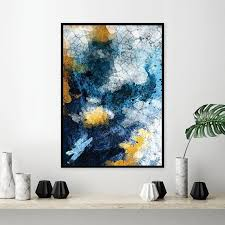 framed navy blue and gold abstract wall