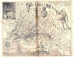 history of jamestown Map Of Voyage From England To Jamestown map of virginia, john smith, 1612 England to Jamestown VA Map