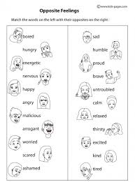 Small Picture Opposite Feelings BW worksheets matching Pinterest