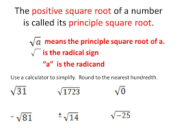 the positive square root of a number is called its principle square root