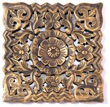 decorative rustic square carved wood