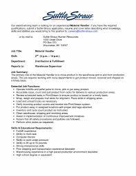 Job Description For Warehouse Worker Resume Resume Template
