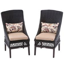 hampton bay woodbury wicker outdoor patio dining chair with textured sand cushion 2 pack