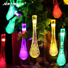 whole 5m 20 solar led string lights 2 modes waterproof water drop outdoor solar fairy string light for wedding garden decor outdoor patio