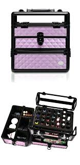 purple diamond professional nail t makeup train case with drawer travel mirror vanity storage extra large