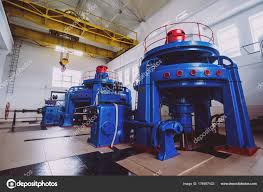 Turbine Generators Hydroelectric Power Plant Interior Stock Photo