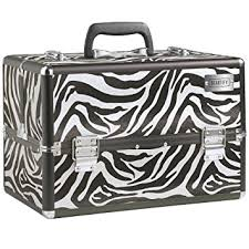 beautify professional large zebra print aluminium 8 partment beauty box cosmetics make up case