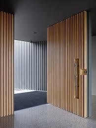 modern front door. Sculptural Light-colored Wood Boards Front Door Modern
