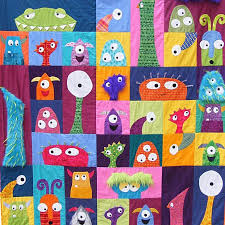 Scary Squares Monster Quilt - Pattern. SO precious for a little ... & Scary Squares - monster quilt pattern from Shiny Happy World. So cute! If I  had a little boy, I'd love this hanging on his wall. Adamdwight.com