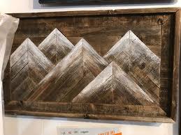 rustic barnwood mountain wall art