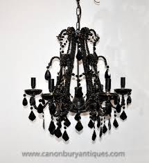 Französisch Reiches Schwarz Kristallglas Kronleuchter Licht