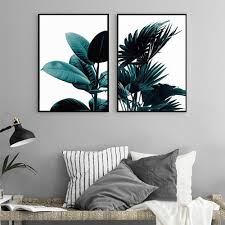 set creative green plant canvas art