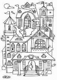 Small Picture Haunted Houses with Many Ghost Coloring Page Color Luna