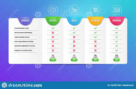 business credit card comparison chart bitcoin credit card and success business icons set web
