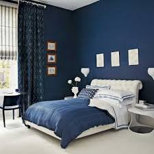 Navy Blue Wall Color With Elegant Tufted Bed Frame For Amazing Bedroom  Decorating Ideas