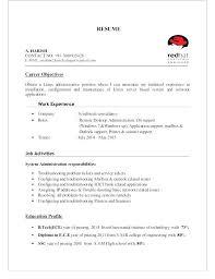 Linux Administrator Sample Resume Stunning Sample Resume For Windows System Administrator Fresher Best Ideas Of
