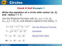 example 1 write the equation of a circle with center 4