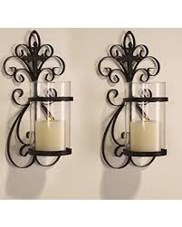 Furnistar Iron and Glass Vertical Wall Hanging Candle Holder Sconce (Holds  One Pillar.