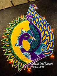 Peacock Mandala Kolam Rangoli Yellow Purple Green Round In
