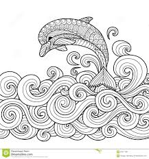 Hand Drawn Zentangle Dolphin With Scrolling