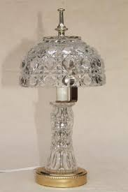 90s vintage heavy crystal clear glass table lamp vase base w bowl shaped lamp shade