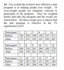Solved: 14. You Would Like To Know How Effective A Diet Pr ...