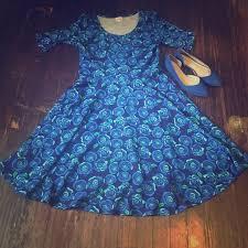 Lularoe Disney Patterns Inspiration LuLaRoe Dresses Nicole With Disney Blue Rose Pattern Poshmark