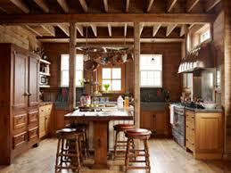 Rustic Country Kitchen Decor L Shaped Brown Finish Solid Oak Wood