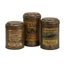 lenor 8 in galvanized vintage label canister set of 3