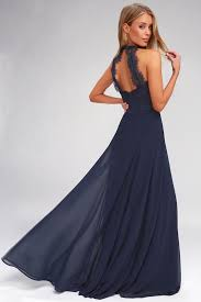 Elegant Maxi Dress - <b>Lace</b> Maxi Dress - <b>Navy</b> Blue Maxi Dress