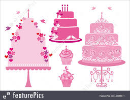 Desserts Wedding And Birthday Cakes Vector Stock Illustration
