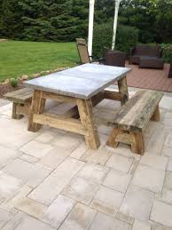 Best Picnic Table Designs Picnic Table Using Railroad Ties And A Concrete Top Whoaaaa