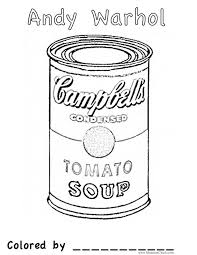 Andy Warhol Soup Can Leads To Free Art Colouring Pages Could