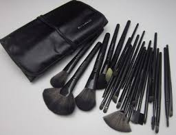 leather pouch middot mac professional makeup kits s 24 pcs piece jet black make up
