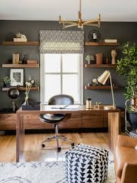 design home office. Example Of A Trendy Freestanding Desk Medium Tone Wood Floor And Brown Study Room Design Home Office